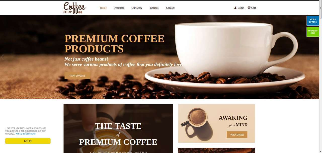 LMS Coffee Shop E-commerce Web Design